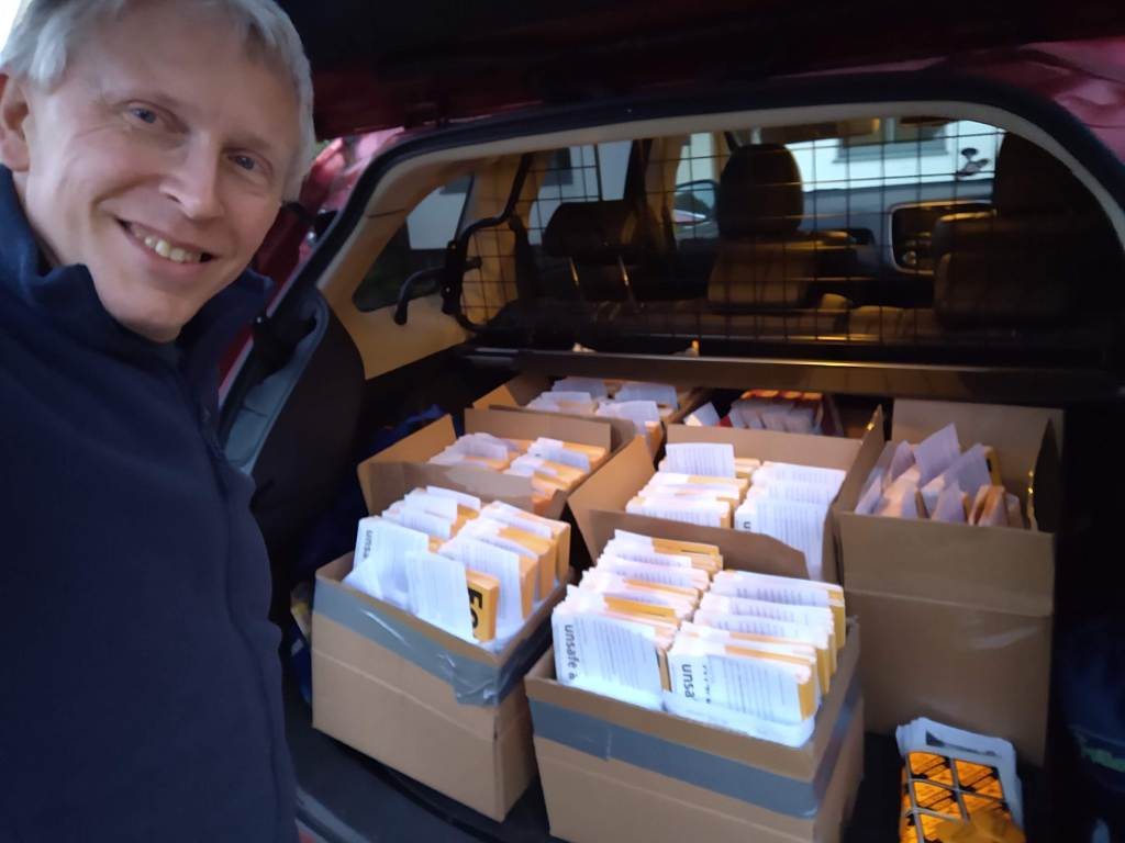 a boot full of Focus leaflets ready to go to deliverers
